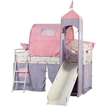 Powell Princess Castle Twin Tent Bunk Bed with Slide  sc 1 st  Amazon.com : beds with slides and tents - memphite.com