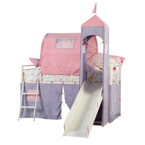 Powell Princess Castle Twin Tent Bunk Bed with Slide (Place Twin Loft Bed)