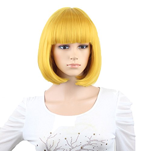 Gold Wig (Anogol France Dress Straight Gold Bob Wig with Bangs for Party Cosplay Women's Hair Wigs)
