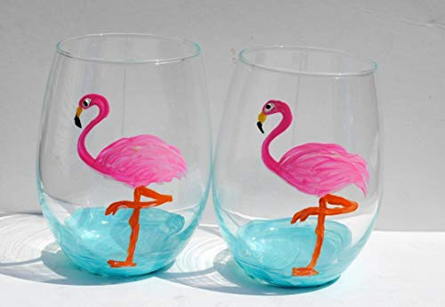 (Pink Flamingo Bird Hand Painted Stemless Wine Glasses (Set Of 2) Beach Home Decor )