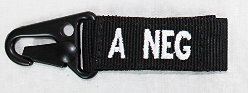 Condor Outdoor COP-239A-002 A Negative Blood Type Key Chain, Black