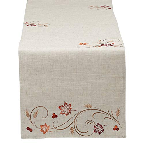 "DII 14x70"" Polyester Table Runner, Embroidered Autumn Wheat - Perfect for Fall, Thanksgiving, Catering Events, or Everyday Use"
