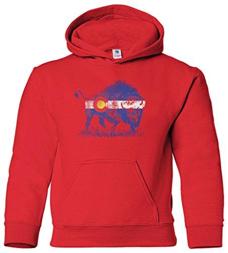 - Threadrock Kids Buffalo Colorado Flag Youth Hoodie Sweatshirt XL Red