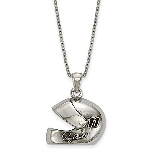 Roy Rose Jewelry NASCAR Stainless Steel LogoArt 3-D Racing Driver Helmet with Driver # 11 and Signature 18'' Chain Necklace