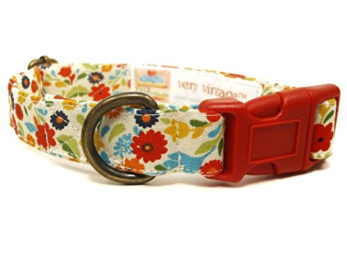 Palm Beach – Cream Multicolor Floral Tropical Flowers Girly Vintage Organic Cotton Pet Collar – Handmade in the USA
