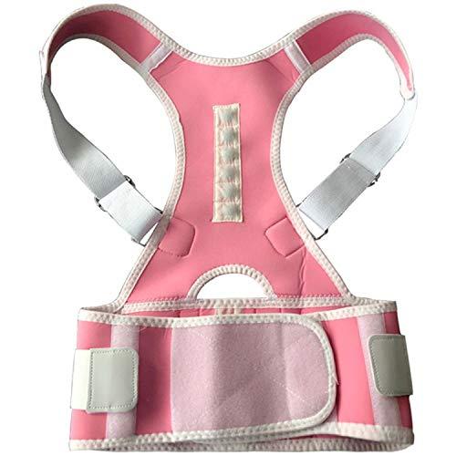 Magnetic Clavicle Lumbar Support Belt Adjustable Posture Corrector Shoulder Back Brace Men Women,Pink,L