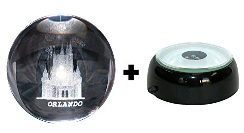 CASTLE in 3D Laser art Crystal Ball globe + 4 LED Light base - GREAT souvenir from ORLANDO FLORIDA
