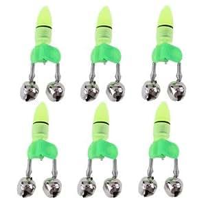 6 Fishing Rod Tip Red LED Light Twin Bells Bite Alarm