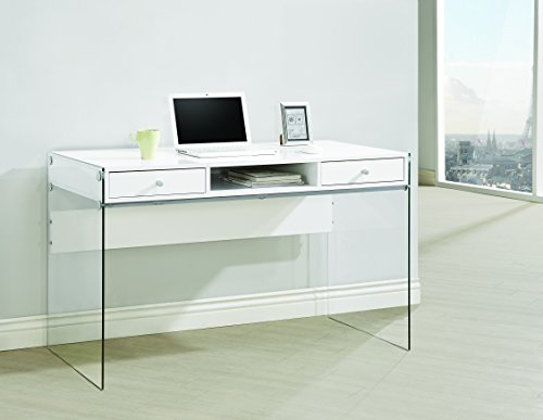 Coaster Home Furnishings  Modern Contemporary Two Drawer Writing Office Desk with Storage Cubby Compartment and Tempered Glass Panels - Glossy White - 2 Piece Set Computer Desk