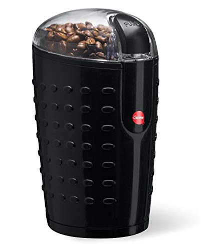 Quiseen One-Touch Electric Coffee Grinder. Grinds Coffee Beans, Spices, Nuts and Grains – Durable Stainless Steel Blades (Black) (Renewed)