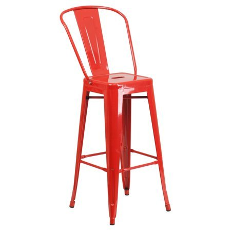 Indoor-Outdoor Barstool, Bistro Style Barstool, Curved Back with Vertical Slat, Drain Hole in Seat, Modern Design, Vintage Style Barstool, Great Option for Indoor and Outdoor Use + Expert Guide For Sale