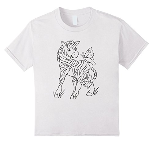 kids-zebra-butterfly-coloring-book-t-shirt-8-white