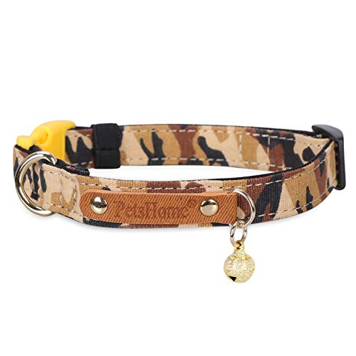 - PetsHome Dog Collar, Cat Collar, [Camouflage Canvas] with Quick Release Buckle Adjustable Collars for Small Dog and Cat Small Light Brown