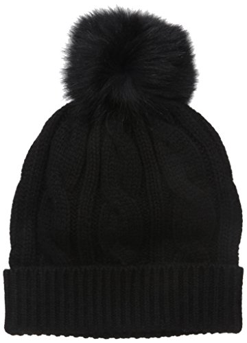 Sofia Cashmere Women's 100% Cashmere Cable Hat with Fox Fur Pom, Black, One by Sofia Cashmere