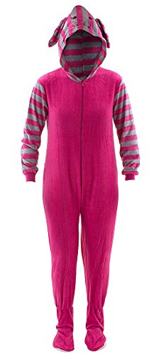 Pink Bunny Striped Hooded Footed Pajamas for Women M (Bunny Onesies For Adults)