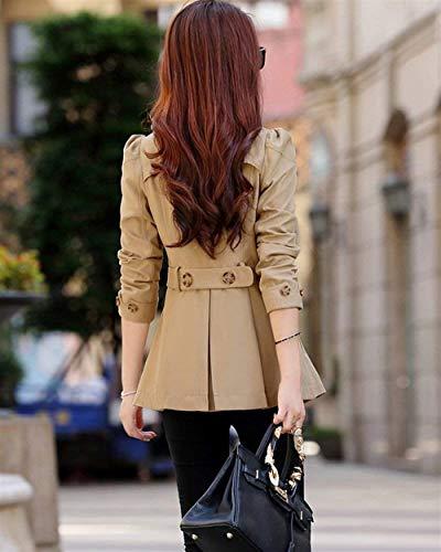 Colore Manica Fit Breasted Bavero Giacca Outerwear Tasche Invernali Kaki Slim Cappotto Double Giovane Stile Lunga Puro Donna Outwear Modern Anteriori wREx8OYgq
