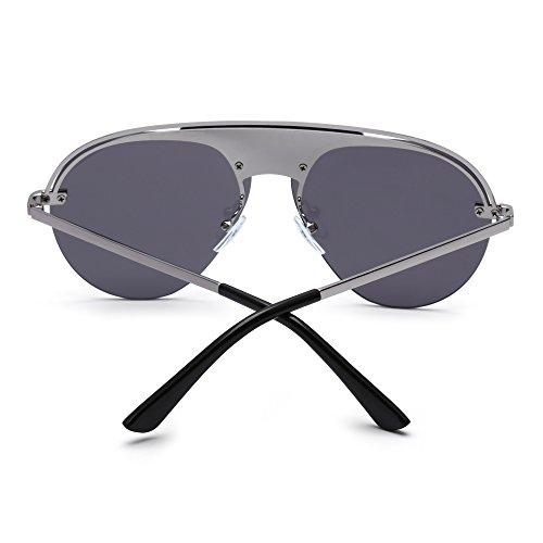 Diseñador Metal Marco de Gafas Mujer Top Plano Tintado Gris Anteojos Aviador Sin Sol Hombre Plateado H8nqSSW