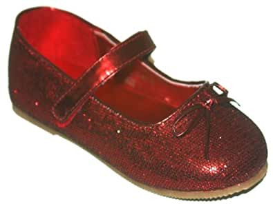 Toddler Girls Ruby Red Glitter Mary Janes Shoes (7)