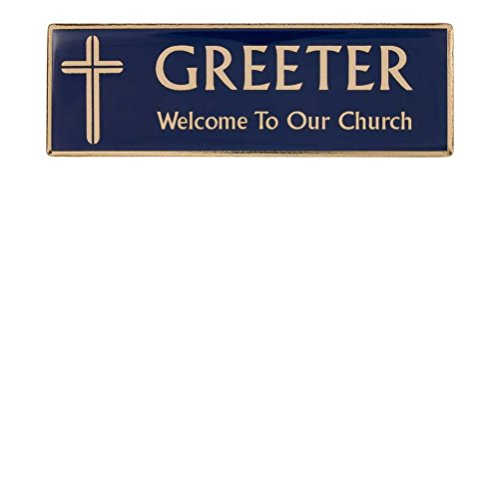 Greeter Magnetic Blue & Gold Badge with Cross (Set of (Greeter Badge)