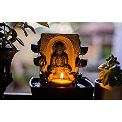 Zen Falls Tabletop Meditating Buddha Candle Multi Tier Waterfall Fountain | 1 Candle & Water Pump Included
