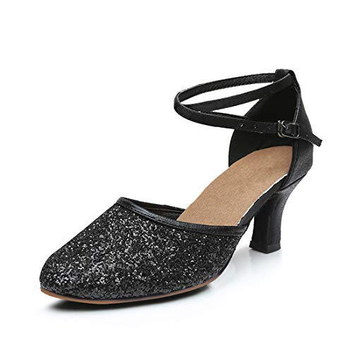 GetMine Womens Latin Dance Shoes Heeled Ballroom Salsa Tango Party Sequin Dance Shoes Black-rubbler Sole 6]()