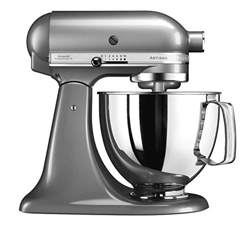 KitchenAid 5KSM125ECU Stand Mixer, 5-Qt, Silver Medallion, 220 Volts (Not for USA – European Cord)