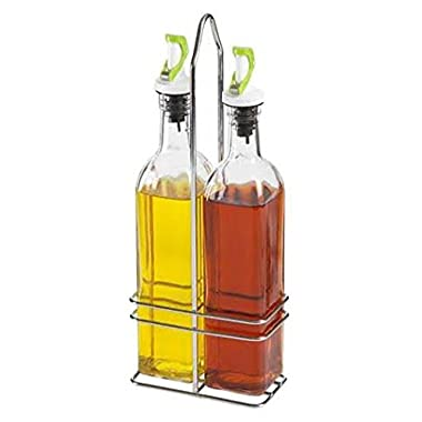 NON DRIP Oil and Vinegar Bottle Set with Rack - Gravity Lid / 500ml