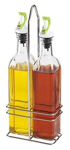 NON DRIP Oil and Vinegar Bottle Set with Rack - Gravity Lid / 500ml