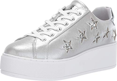 GUESS Women's NAT Sneaker, Silver, 7 M US