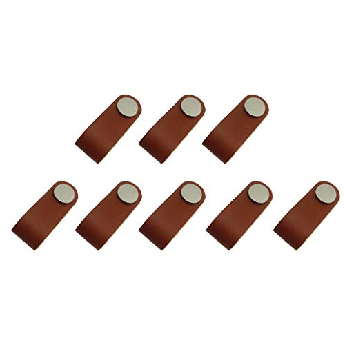 Flameer 8x Cabinet Handles Handmade Leather Dresser Drawer Knobs Pulls Door Handle Kitchen PuKnob net Leather Handle Pull -