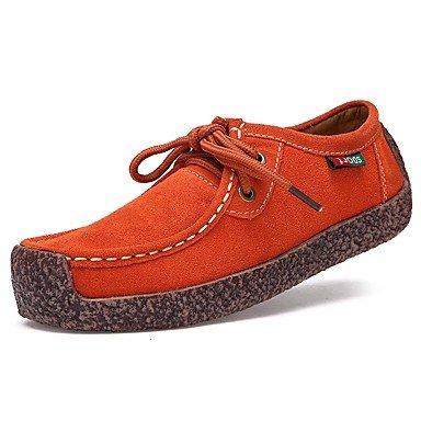 Heart&M Damen Outdoor Komfort Herbst Winter Wildleder Normal Orange Dunkelblau Gelb Braun Rot Flach red
