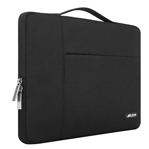 MOSISO Laptop Sleeve Briefcase Handbag Compatible 15-15.6 Inch MacBook Pro, Notebook Computer, Polyester Fabric Multifunctional Carrying Case Protective Bag Cover, Black