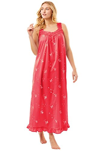 Dreams & Co. Women's Plus Size Long Embroidered Pastel Woven Gown Coral (Woven Ruffled Gown)