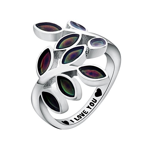 I LOVE YOU Mood Ring Leaf Heart Brass White Gold Plated Magic Color Changing Personalized Message Ring (7.5)