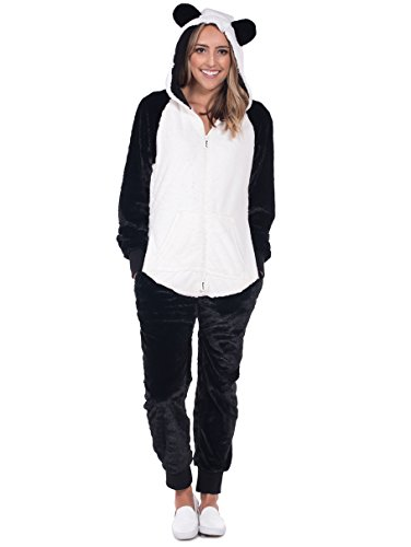 Cute Bear Jumpsuit Costumes (Women's Panda Halloween Costume - Panda Jumpsuit: Small)