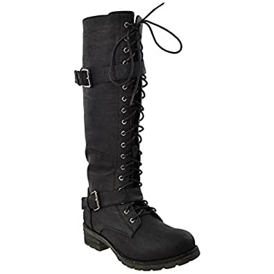 RP By KSC Womens Knee High Boots Faux Leather Lace Up Buckle Straps Shoes Black SZ 6