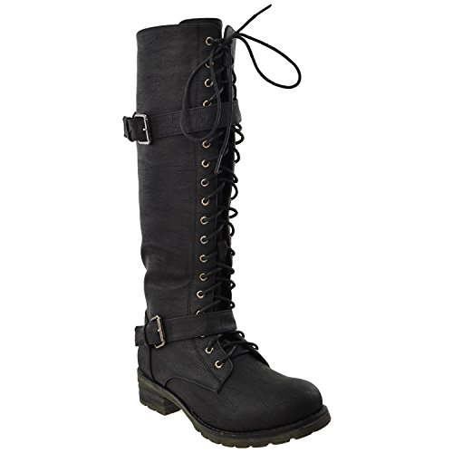 Womens Knee High Boots Faux Leather Lace Up Buckle Straps Shoes black SZ 7