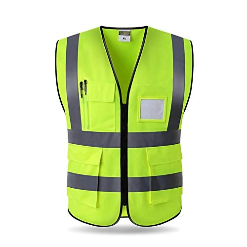 (XUHAN Favorable Hi-Vis Reflective Vest Working Clothes for Cycling Sports Outdoor Reflective Safety Clothing 4pockets jacket yellow (1, XL))