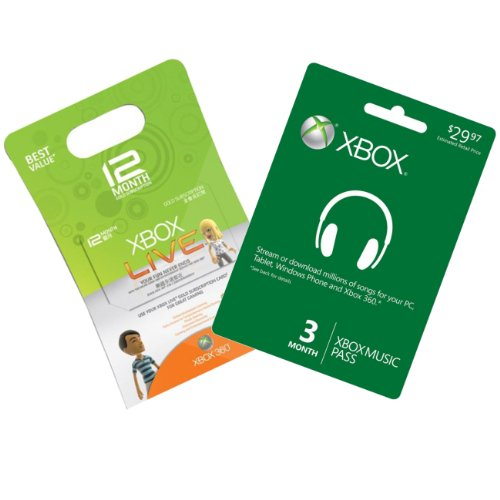 Xbox Live 12-Month Gold + 3-Month Xbox Music Pass - Xbox 360 Digital Code