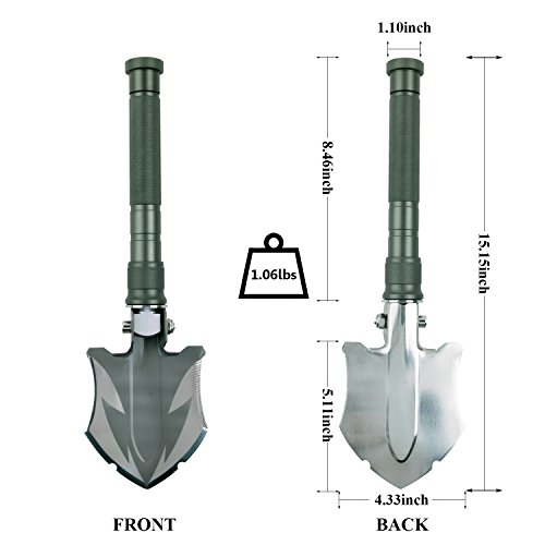 Glossday Military Folding Shovel Multitool,Portable Survival Shovels,Tactical Entrenching Tool,Heavy Duty Emergency Tool, Outdoor Gear Camping Backpacking,Fishing,Hiking (15inch) by Glossday (Image #2)