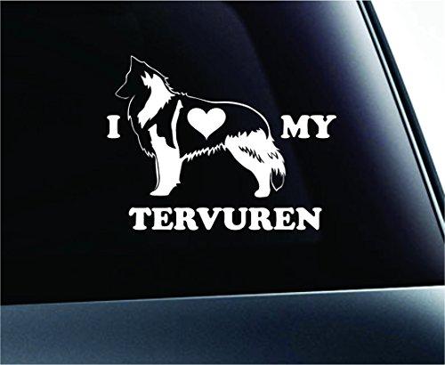 Belgian Tervuren Breed - ExpressDecor Dog I Love My Belgian Tervuren Symbol Decal Car Truck Sticker Window Dog Breed Pet Family Paw Print Love (White)