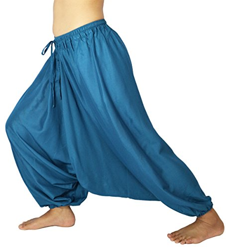 Lovely Creations Unisex Plus Size Baggy Aladdin Hippie Yoga Harem Casual Pants(HC Blue),US size 4-14]()