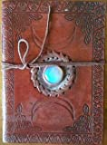Triple Moon Stone Embossed Journal Diary Leather Blank Black Book w/Cord 5'' x 7''
