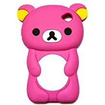 """iTitan Strawberry Pink {Teddy Bear Animal} Soft and Smooth Silicone Cute 3D Fitted Bumper Gel Case for iPod 4 (4G) 4th Generation iTouch by Apple """"Durable and Slim Flexible Fashion Cover with Amazing and Creative Cartoon Design"""""""