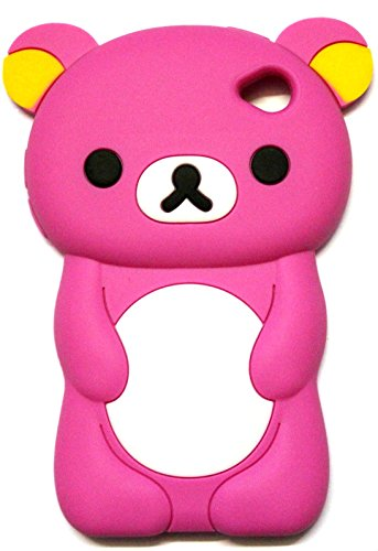 iTitan Strawberry Pink {Teddy Bear Animal} Soft and Smooth Silicone Cute 3D Fitted Bumper Gel Case for iPod 4 (4G) 4th Generation iTouch by Apple