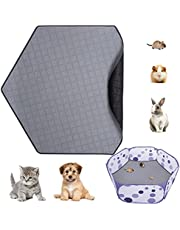 MEWTOGO Washable Hexagon Playpen Liners- Anti-Slip Lock Water Pee Pad Fleece Playpen Liners Playpen Mat for Small Animal Tiny Pets Playpen Hamster Cage Rabbit Guinea Pig Fence(Gray)