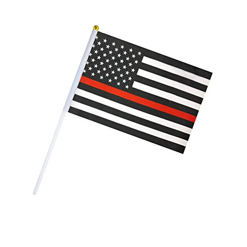 50 Pack Hand Held Thin Red Line USA Polyester Flag Fire Fighter Flag,American Honoring Firefighter Flags Fireman Flag Small Mini Flag on Stick,Supplies for Parades?Decorative Items