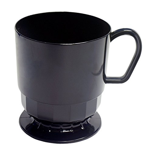 Party Essentials Elegance Hard Plastic Coffee Cup, 8-Ounce Capacity, Black, (Case of (Black Footed Cup)
