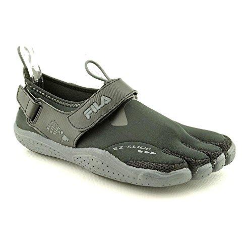 Fila Men's Skele-Toes EZ Slide Drainage Athletic Shoes, Black Textile, 9 M (Kids Toe Shoes)