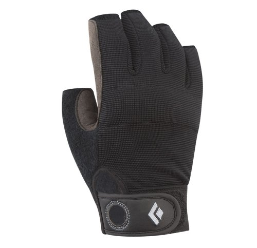 Black Diamond Crag Half-Finger Climbing Gloves, Black, Medium (Belay Glove)